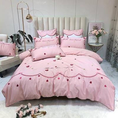 2019新款60長絨棉小清新工藝刺繡四件套 靠枕60*60不含芯一對 美麗邂逅-櫻花粉