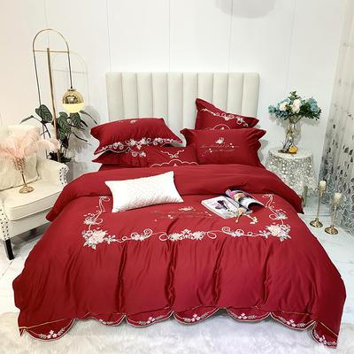 2020新款60长绒棉四件套 1.5m床四件套 瑞希-波尔多红