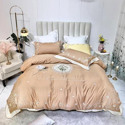 2019新中式60长绒棉绣花四件套 1.5m床单款四件套 漫想时光-香槟金