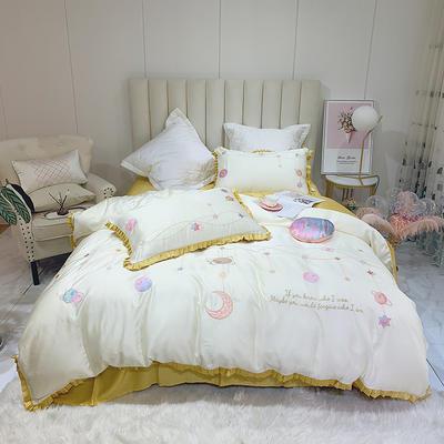 2020新款小清新天丝刺绣四件套 1.5m(5英尺)床 天丝 瑞贝卡-姜黄