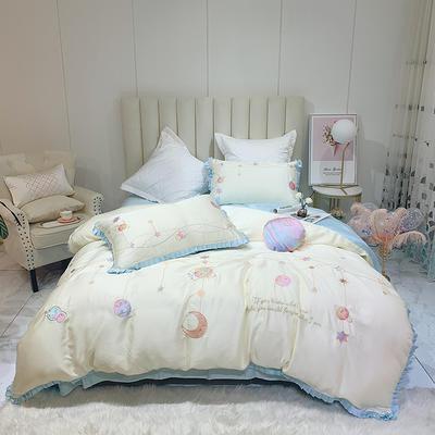 2020新款小清新天丝刺绣四件套 1.5m(5英尺)床 天丝 瑞贝卡-珠光兰