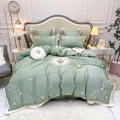 2019新中式60长绒棉绣花四件套-实拍图 1.5m床单款四件套 漫想时光  绿