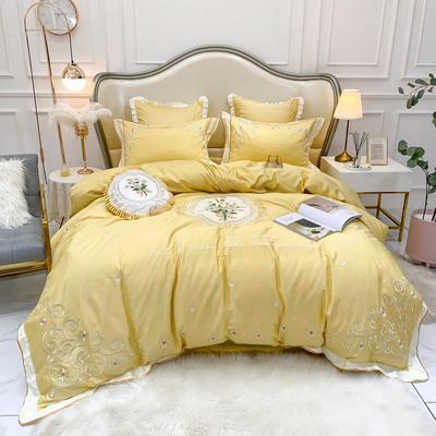 2019新中式60长绒棉绣花四件套-实拍图 1.5m床单款四件套 漫想时光 黄