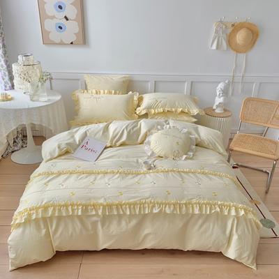 2021新款水洗棉四件套--甜蜜之恋 1.8m床单款四件套 甜蜜之恋-奶昔黄