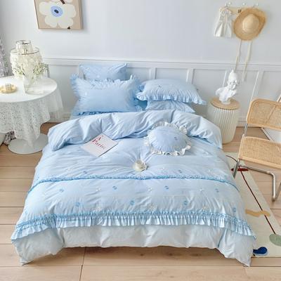 2021新款水洗棉四件套--甜蜜之恋 1.8m床单款四件套 甜蜜之恋-晴空蓝