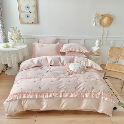2021新款水洗棉四件套--甜蜜之恋 1.8m床单款四件套 甜蜜之恋-糖果粉