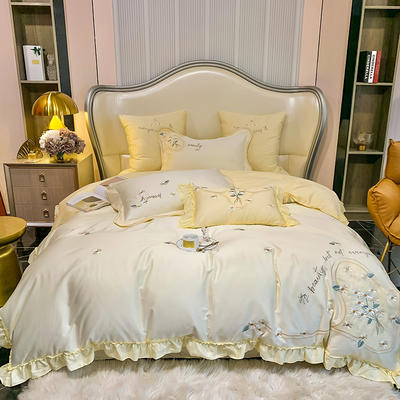 2021新款80支长绒棉四件套-花益满庭(风格一) 1.8m床单款四件套 花益满庭-嫩黄