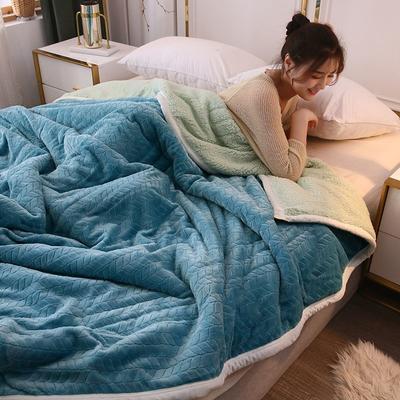 2019新款麦穗三层夹棉毛毯 1.5*2米 孔雀蓝