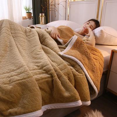 2019新款麦穗三层夹棉毛毯 1.5*2米 驼色