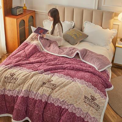 2020新款三层保暖绒羊羔绒夹棉印花毛毯盖毯 100*150cm 欧式格调