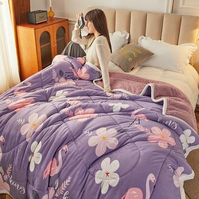 2020新款三层保暖绒羊羔绒夹棉印花毛毯盖毯 150*200cm 火烈鸟