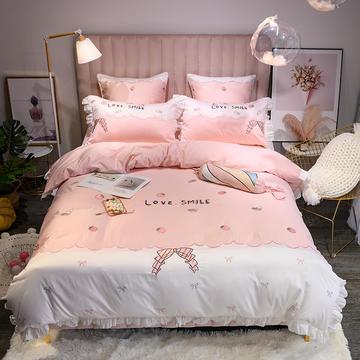 60长绒棉贴布绣粉色棉花糖系列四件套