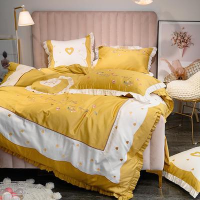 埃及60长绒棉系列抱枕靠垫 靠垫60*60cm/对 靠垫爱恋(黄)