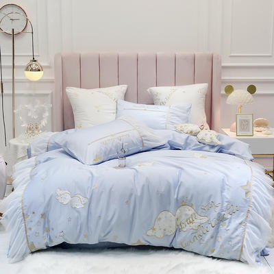 2020新款埃及60s长绒棉四件套—天使之翼 1.5m床单款四件套 天使之翼 蓝