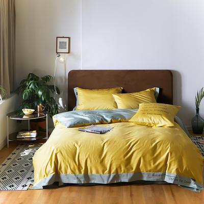 2020新款COLOURFUL  60S长绒棉简奢双拼系列四件套 1.5m床单款四件套 奥丁黄