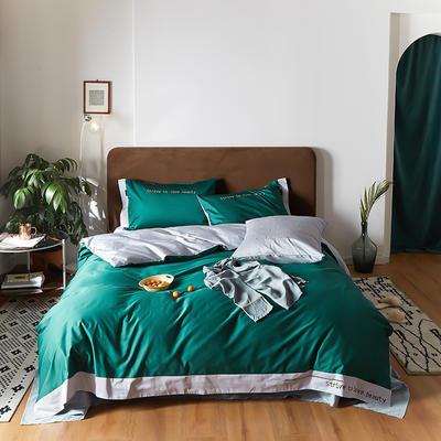 2020新款COLOURFUL  60S长绒棉简奢双拼系列四件套 1.5m床单款四件套 松石绿