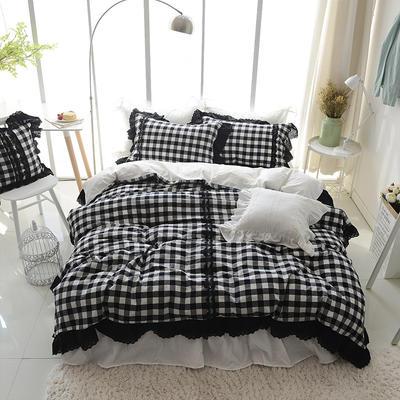 水洗棉-格子款(黑白格调) 方枕45*45含芯 黑白格调