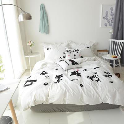 水洗棉-毛巾绣(情侣猫-白) 长方枕 情侣猫-白