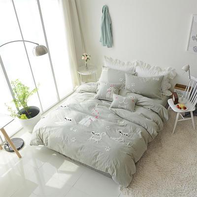 水洗棉-毛巾绣(情侣猫-灰) 长方枕 情侣猫-灰