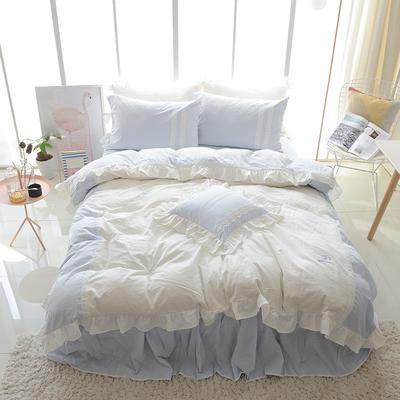 水洗棉-情书(情书-蓝) 方枕45*45含芯 情书-蓝