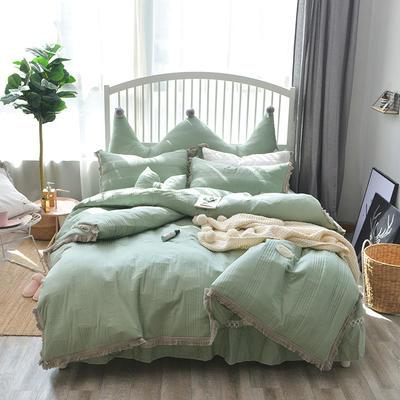 淑女花-2018新款-宁静全棉款四件套 1.2m床 绿色