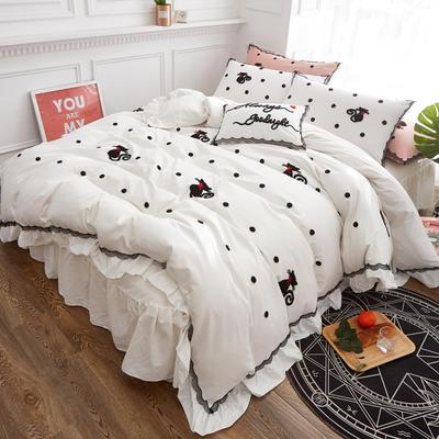 2018全棉毛巾绣蕾丝系列四件套 -猫女郎 1.2m(4英尺)床 猫女郎-白(四件套)