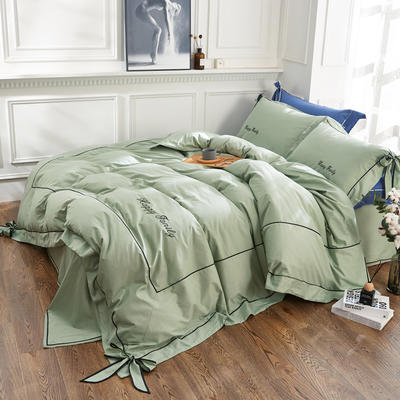 2018新款丘比特全棉款四件套 1.2m床 复古绿