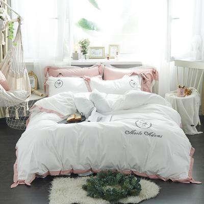 2019新品全棉刺绣四件套-四季可用 1.5m(5英尺)床 小姐姐-白