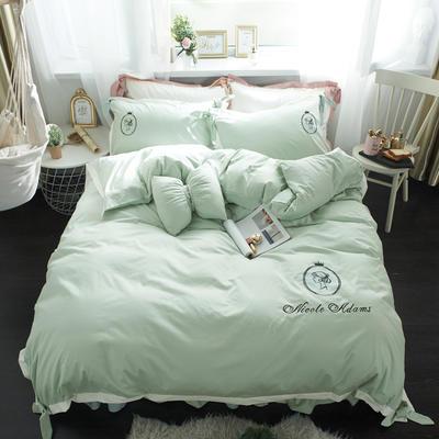 2019新品全棉刺绣四件套-四季可用 1.5m(5英尺)床 小姐姐-复古绿