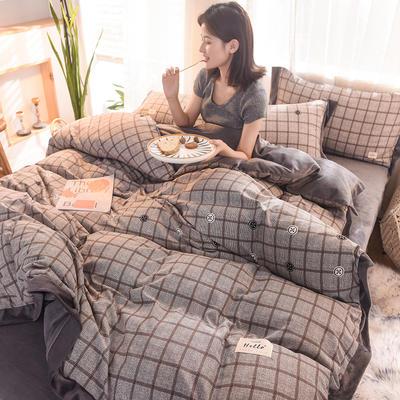 2019新款阳绒保暖四件套 1.5m床(床单款) 格中格 灰