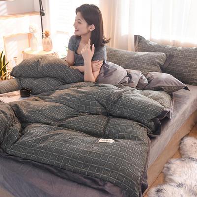 2019新款阳绒保暖四件套 1.8m床(床笠款) 格中格