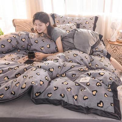 2019新款阳绒保暖四件套 1.2m床三件套(床单款) 心粉格-灰