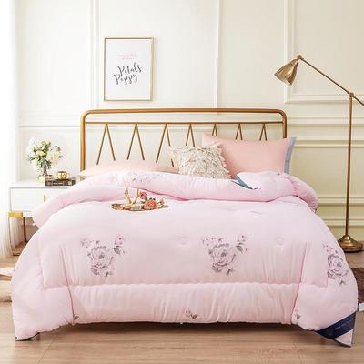 2019新款羽丝绒印花冬被被芯 200X230cm  6.2斤 粉色