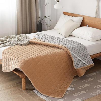 水晶绒纯色防滑床褥 90x200 驼色