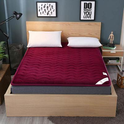 2019新款-法莱绒硬质棉床垫2017.6.9 90*200 法莱绒硬质棉垫-酒红