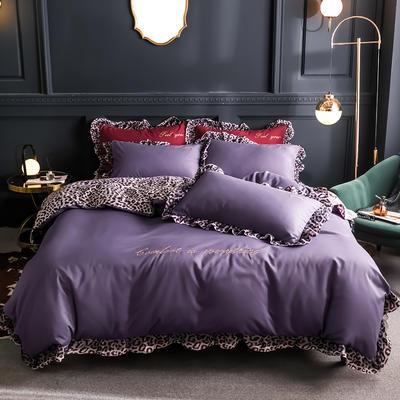2019秋冬新款纯色豹纹刺绣埃及长绒棉四件套 1.5m(床单款四件套) 深紫