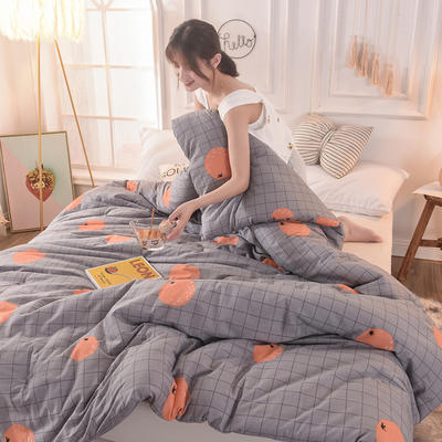 2019新款全棉小清新春秋被冬被 240x220cm(8斤) 格子暖橙