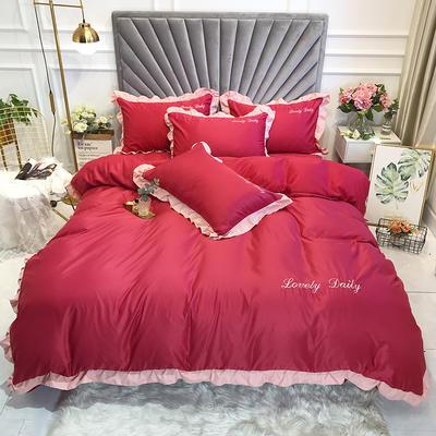 2020新款四件套真丝撞色荷叶边四件套 1.5m床(被套2.0*2.3床单2.45*2.5) 酒红色