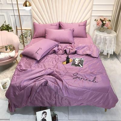 2020新款水洗真丝夏被四件套 250*250cm床单夏被四件套 浅紫