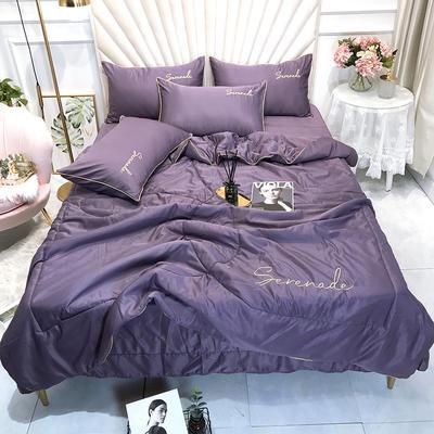 2020新款水洗真丝夏被四件套 250*250cm床单夏被四件套 深紫