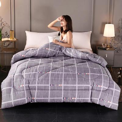 2020新款-暖绒棉冬被 150*200cm 4斤 灰格子