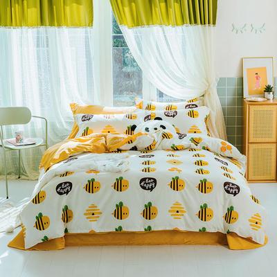 2020春夏新款13070全棉网红小清新四件套 1.5m床单款四件套 小黄蜂