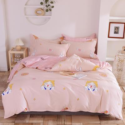 2020年新款12868全棉纯棉爆款网红小清新四件套 1.5m(5英尺)床 粉红兔