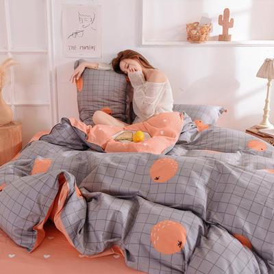 2021年新款12868全棉纯棉爆款网红小清新四件套 1.5m(5英尺)床 暖橙甜心