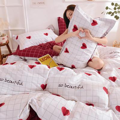 2021年新款12868全棉纯棉爆款网红小清新四件套 1.5m(5英尺)床 心心念念