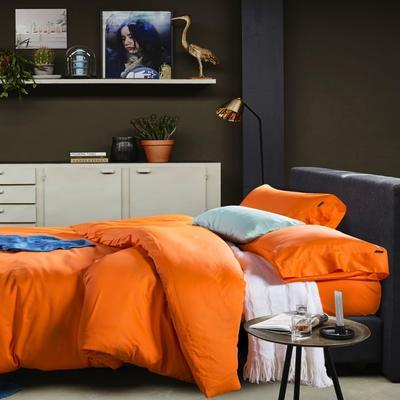 60支 贡缎长绒棉 素色套件 标准(200*230cm) 爱马仕橙