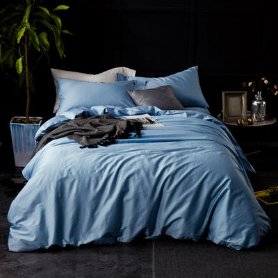 60支 贡缎长绒棉 素色套件 标准(200*230cm) 淡水蓝