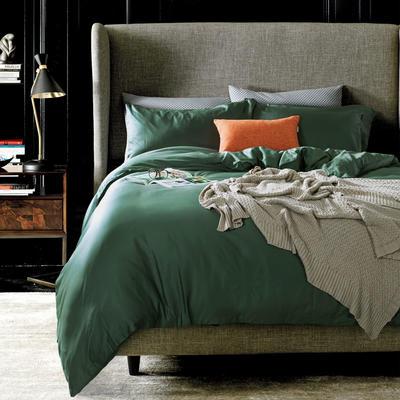 60支 贡缎长绒棉 素色套件 标准(200*230cm) 海藻绿