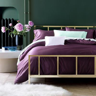 60支 贡缎长绒棉 素色套件 标准(200*230cm) 冷艳紫