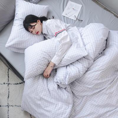 初心 系列   全棉时尚套件 1.2米床笠款(120*200*25) 千鸟格